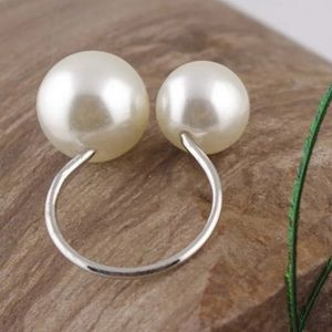 3 for $12 Pearl Adjustable Ring W/ Silver Band❗️
